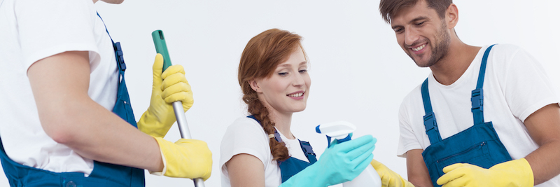 Woman holding a cleaning agent