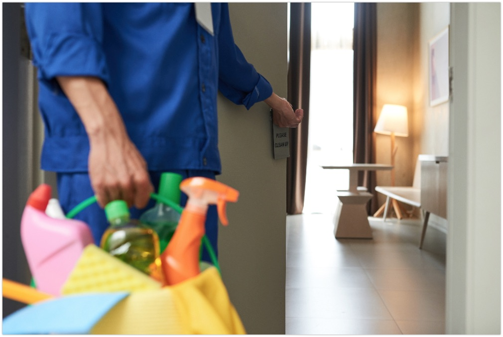Cleaner opening door