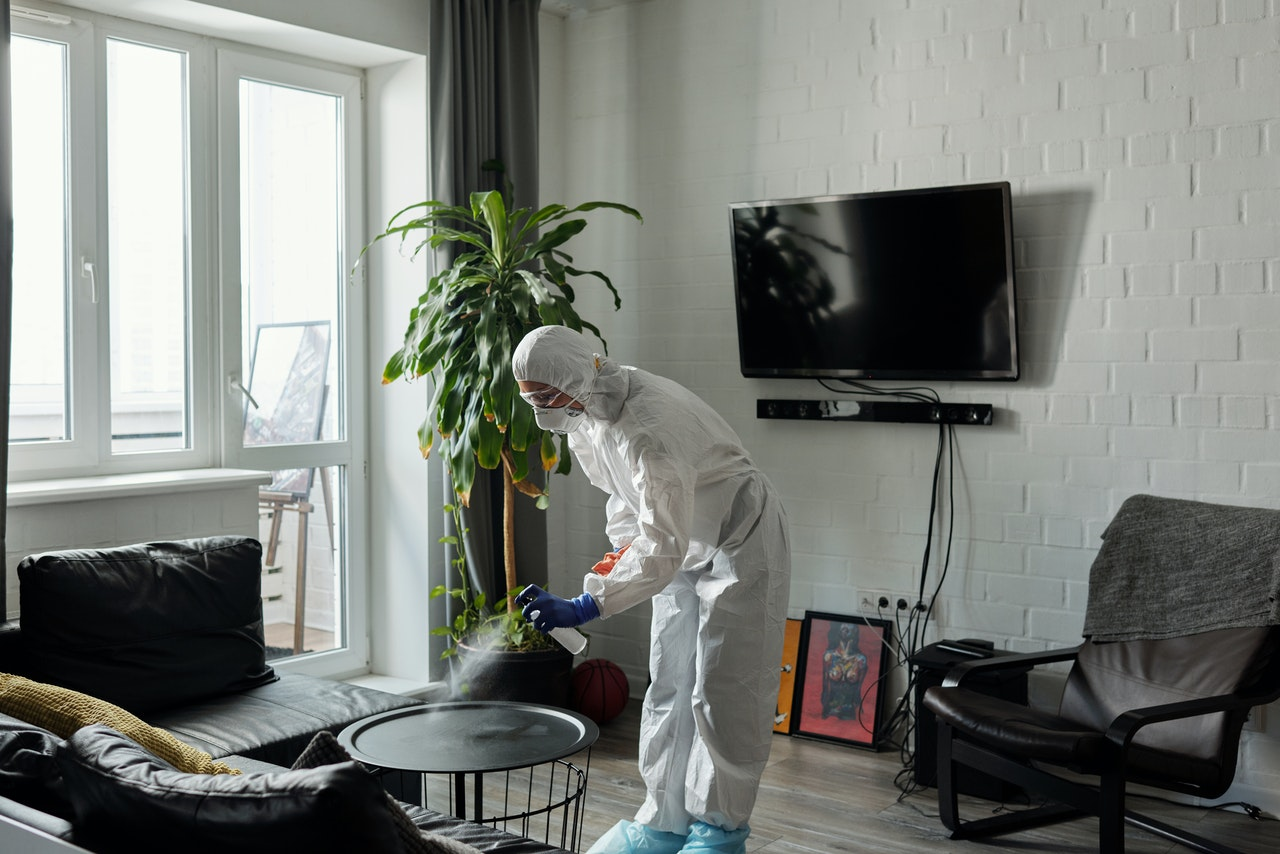 person cleaning and sanitising the living room