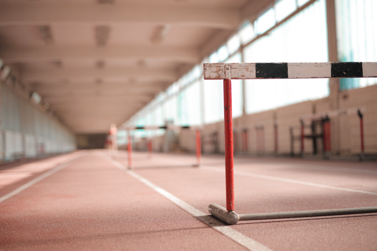 row of barriers on empty track